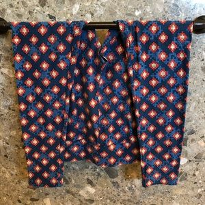 Geometric Red and Blue TC Leggings Size 12-18